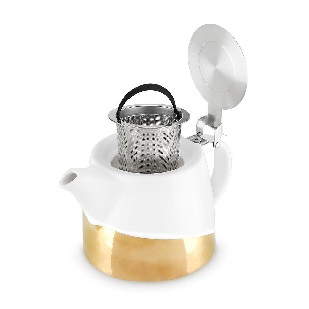 Harper Gold Dipped Ceramic Teapot and Infuser - Only £26.99