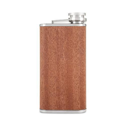 Wood Veneer Hip Flask - Stainless Steel | Only £24.99