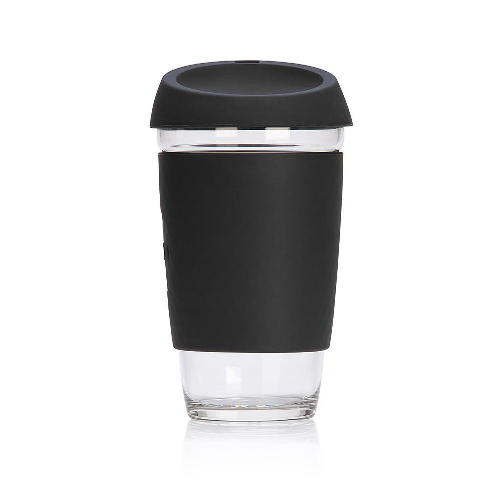 JOCO Reusable Glass Coffee Cup 16oz Black
