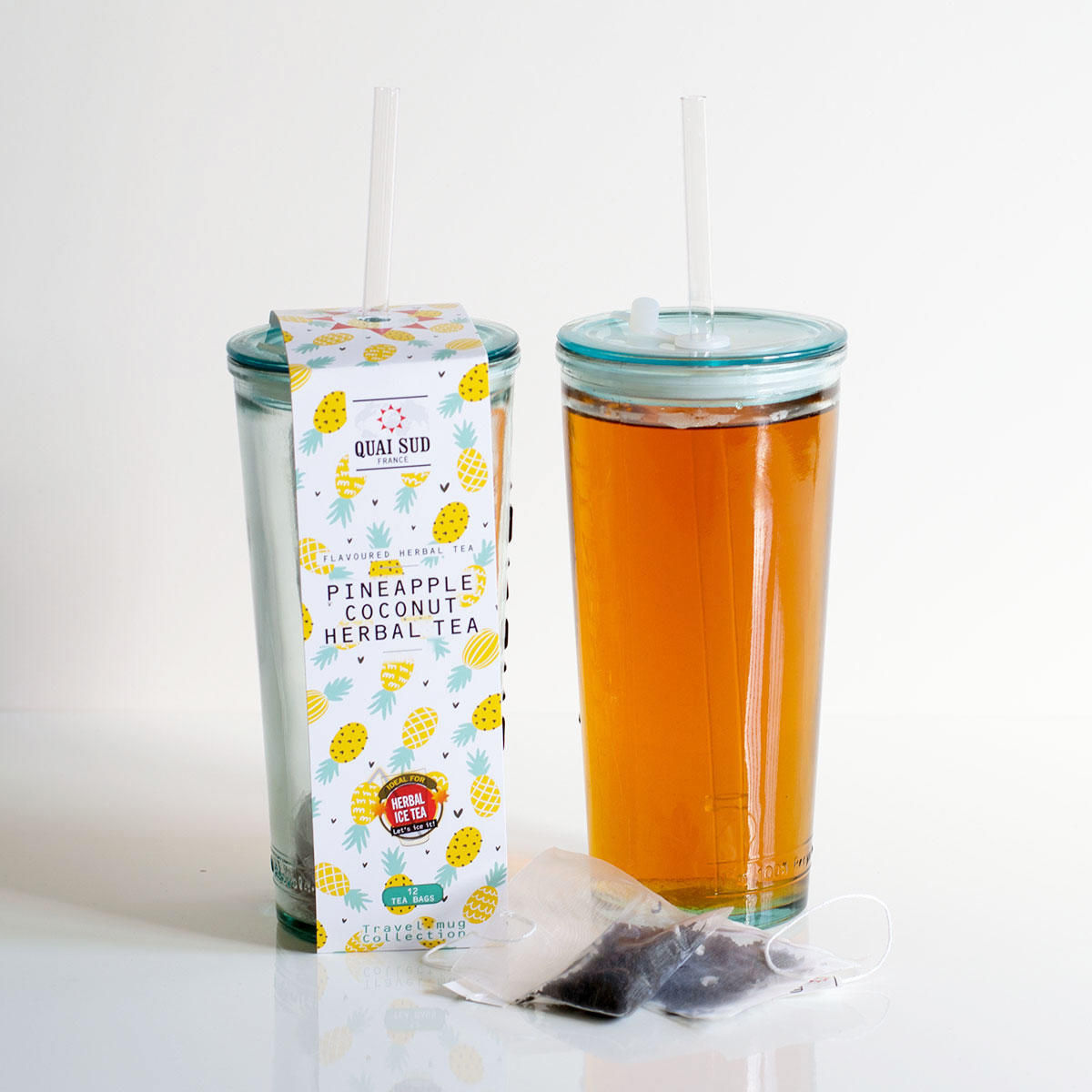 Pineapple and Coconut Ice Tea in Recycled Travel Glass