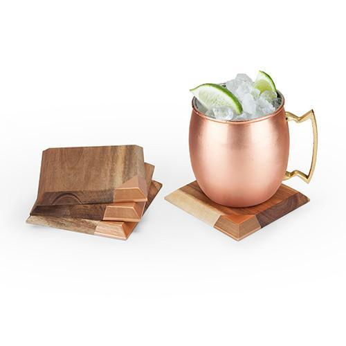 Metallic Dipped Wooden Coaster Set - Only £19.99 | Uberstar
