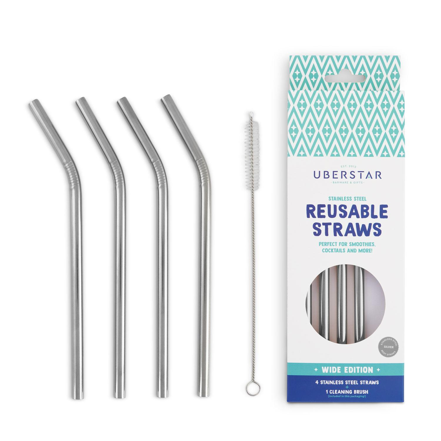 Uberstar Reusable Stainless Steel Straws (4 Pack)