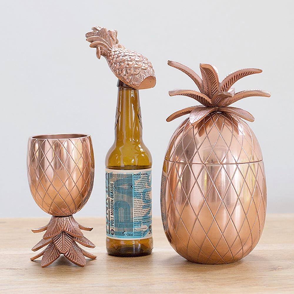Tropical 70s style Pineapple Barware - Goblet, Bottle Opener, Ice Bucket