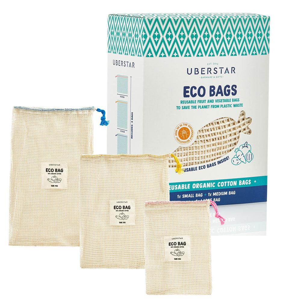 Uberstar Eco Bag - Organic Fruit & Veg Bag (3 Pack)
