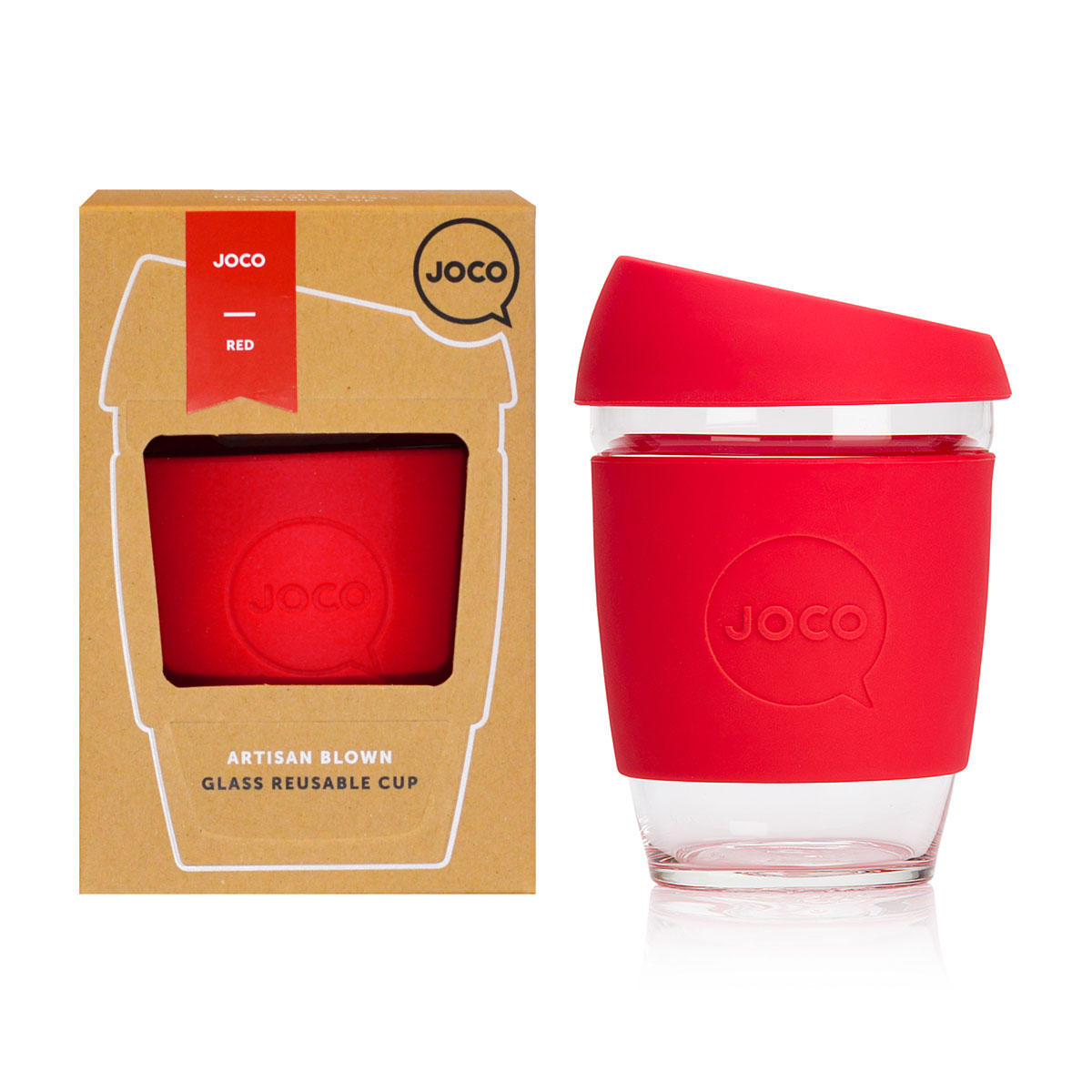 JOCO Cup - 12oz Red - The Original Reusable Glass Coffee Cup