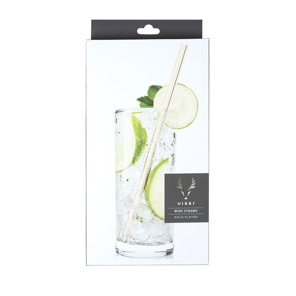 Viski Belmont Wide Gold Straws - Set of 4 - Only £17.99