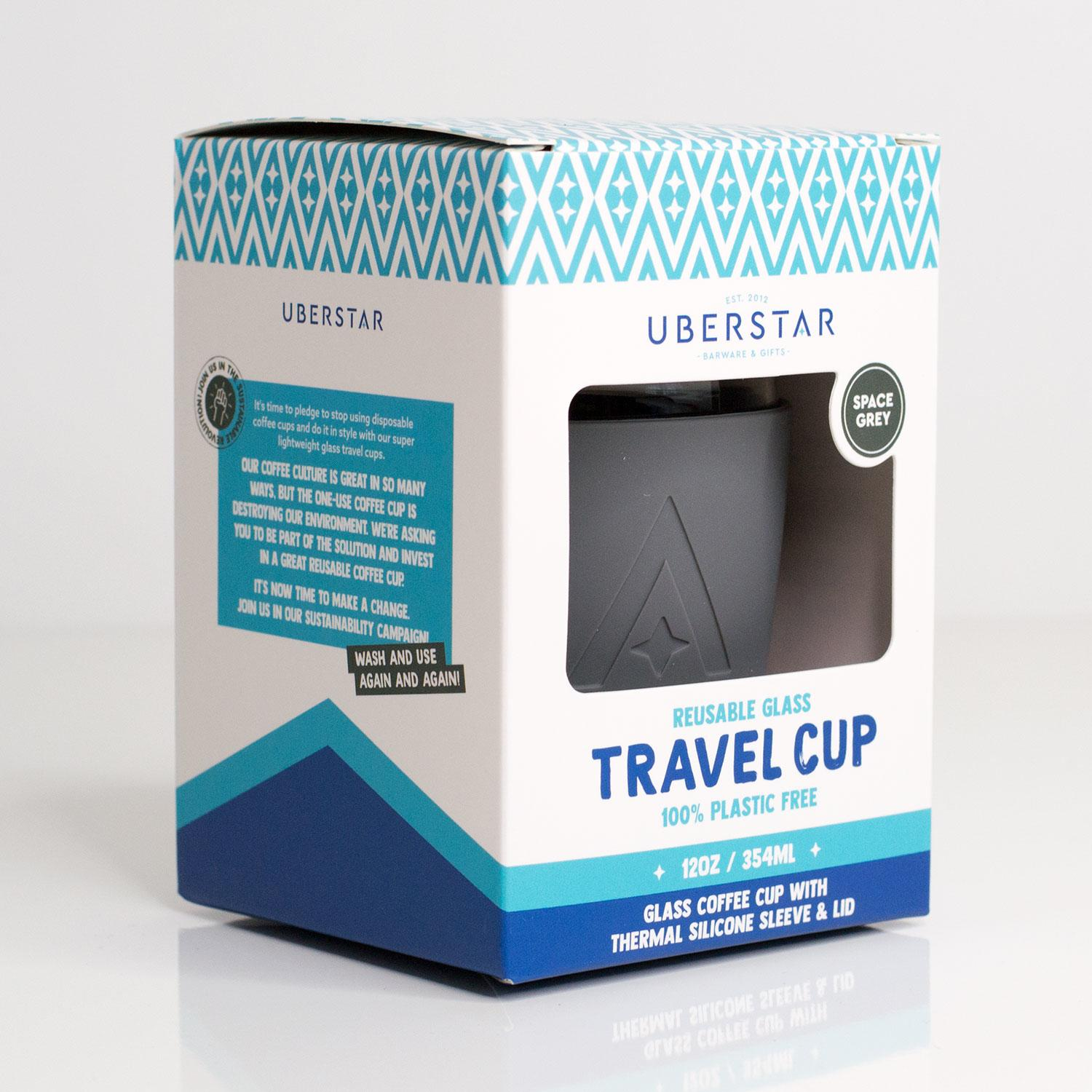 Uberstar Reusable Glass Travel Cup - Space Grey - Only £14.99
