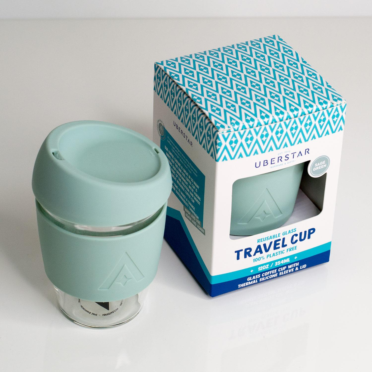Uberstar Reusable Glass Travel Cup - Sage Green - Only £14.99