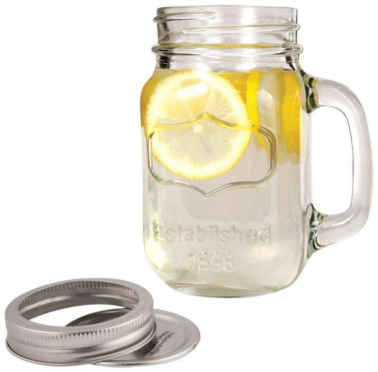 Twine Mason Drinking Jar with Handle and Lid