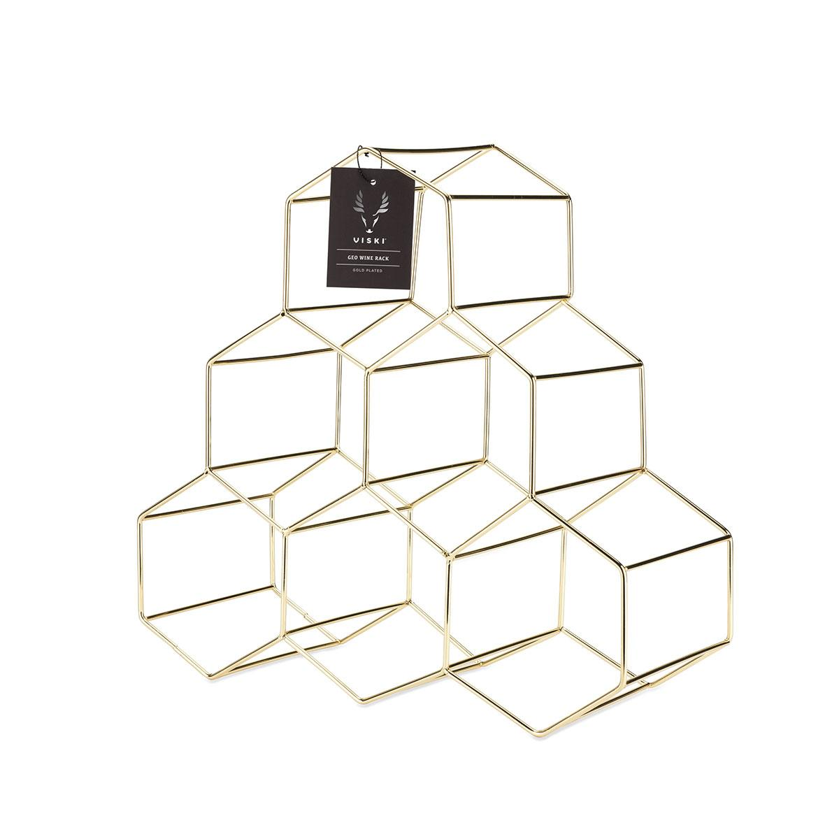 Belmont Geometric Gold Wine Rack