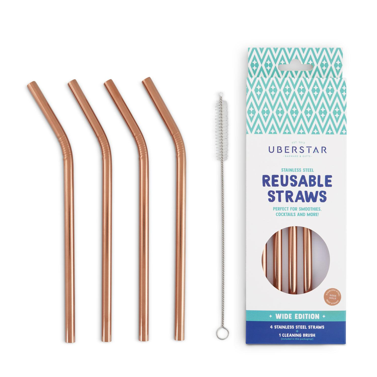 Uberstar Reusable Straws (4 Pack) - Rose Gold