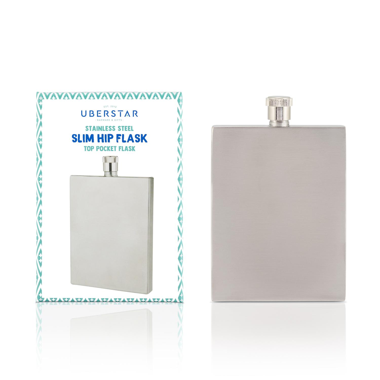 Uberstar Slim Hip Flask - Only £14.99