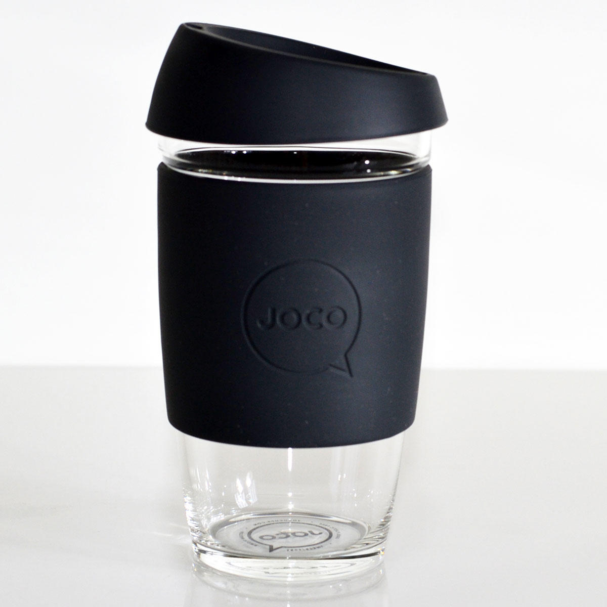 JOCO Cup Reusable Glass Coffee Cup 16oz Black