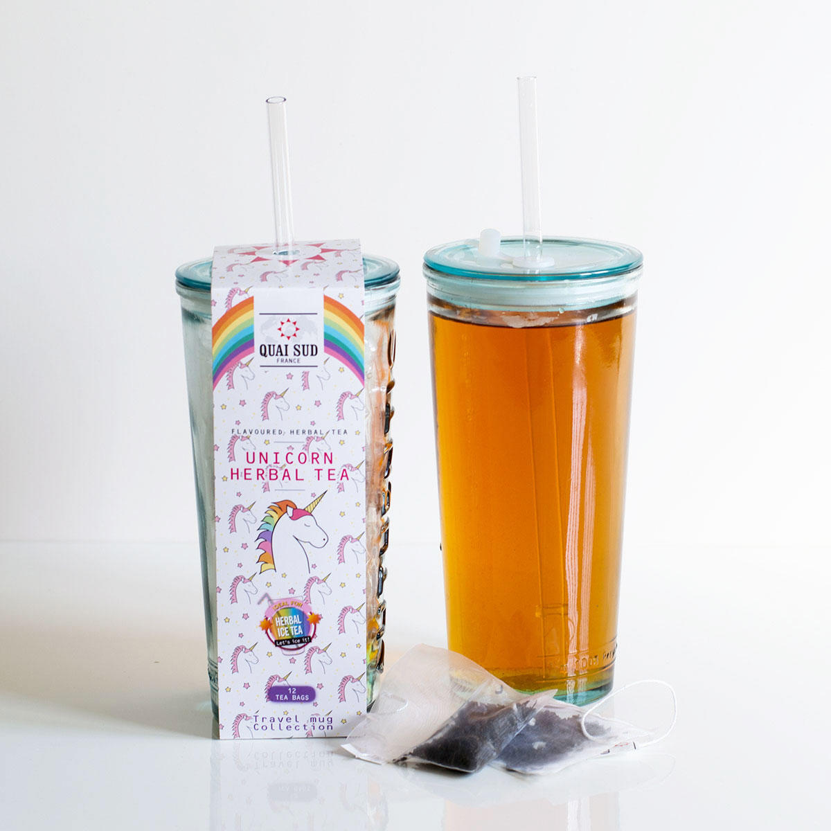 Unicorn Ice Tea with Recycled Travel Glass