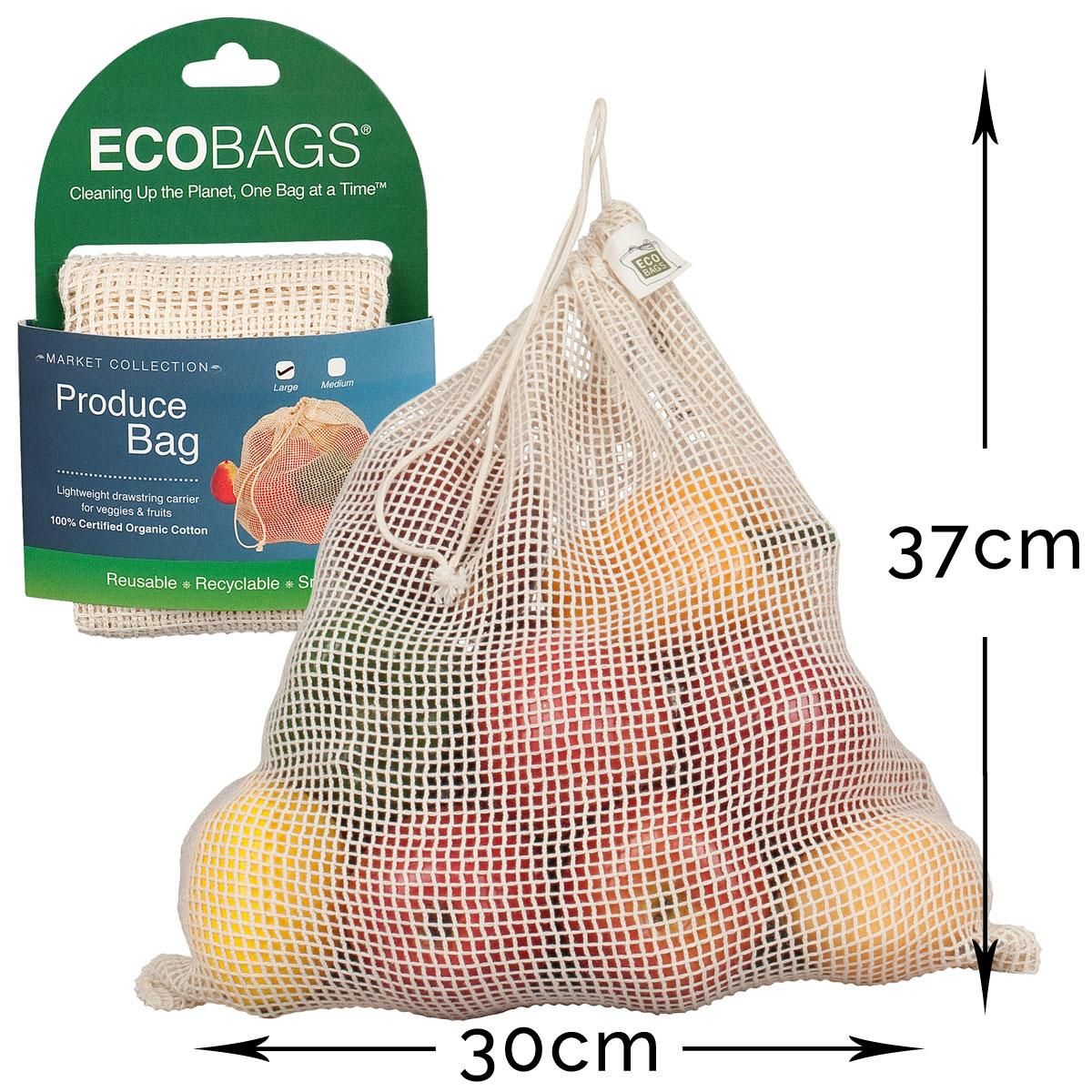 ECOBAGS Organic Cotton Net Grocery Bag - Measurements