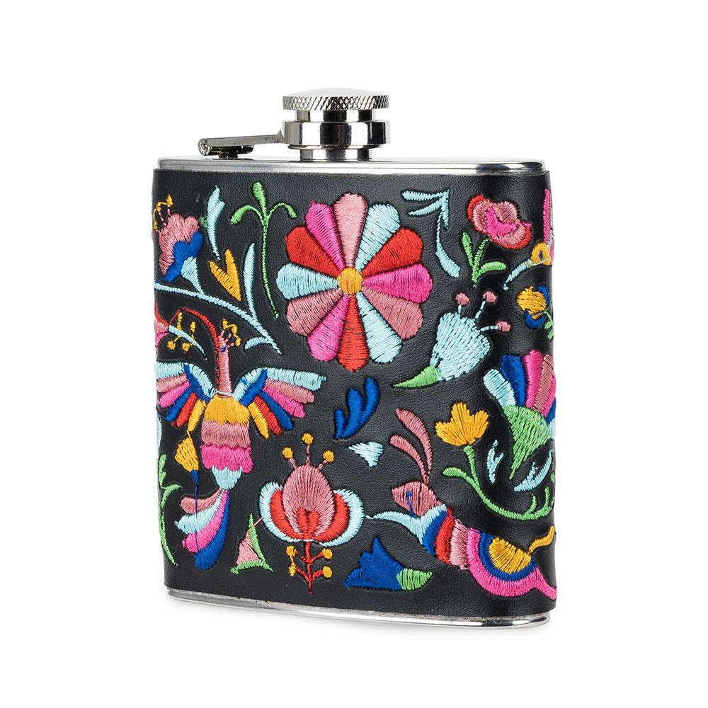 Embroidered Hip Flask