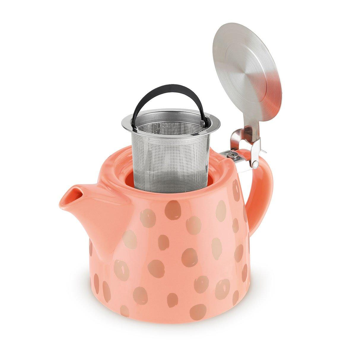Harper Peach and Copper Ceramic Teapot and Infuser - Only £26.99