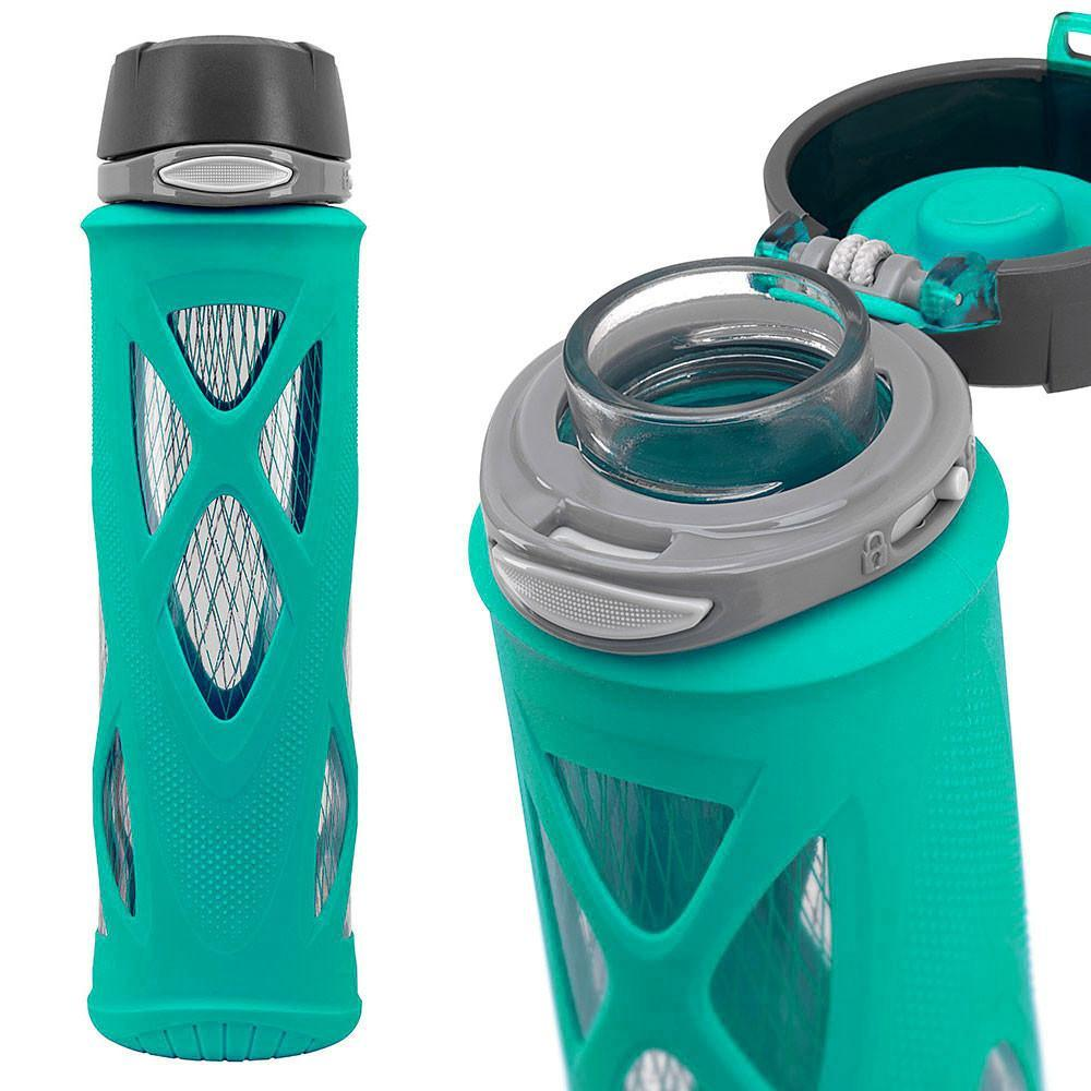 ZULU Atlas Glass Water Bottle - Teal - Only £17.99