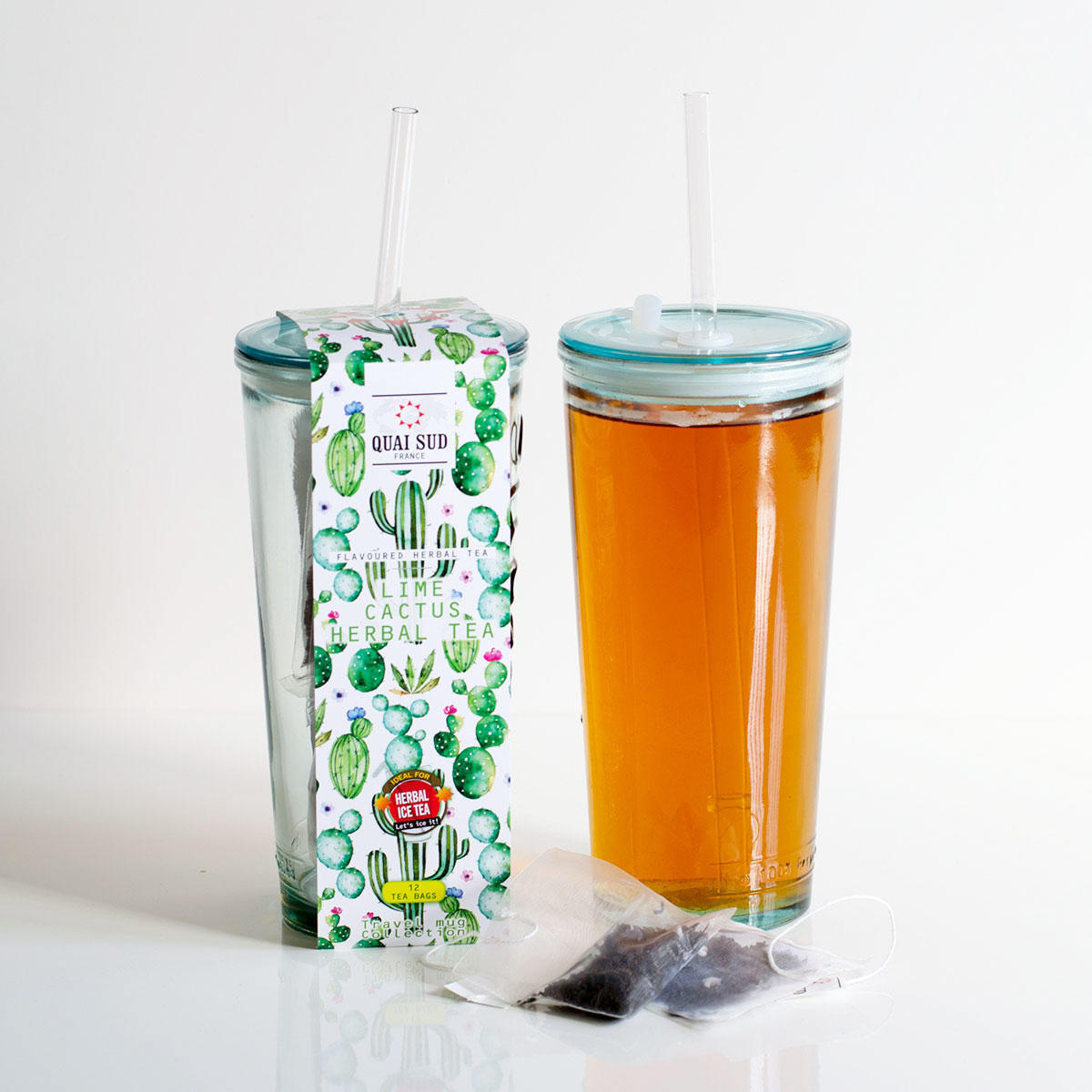 Ice Tea - Lime and Cactus in Recycled Travel Glass