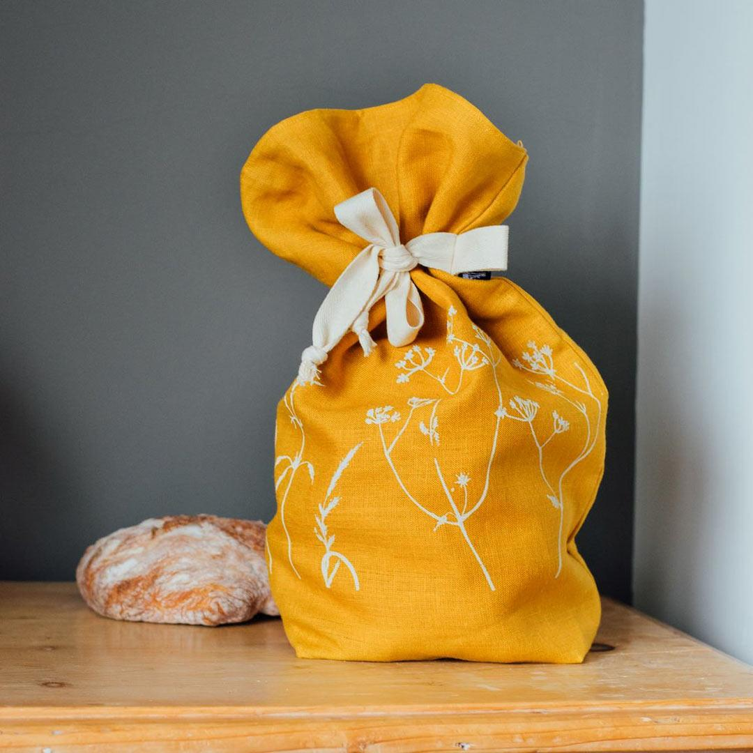 Hand Printed Linen Bread Bag - Hedgerow Collection - mustard