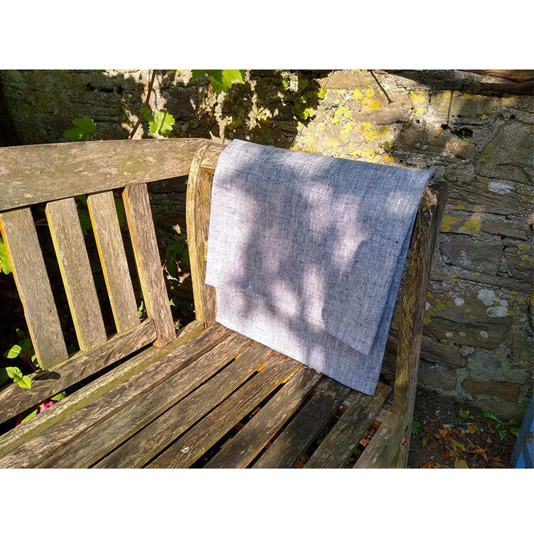 100% Linen Beach/Bath Towel - Francesca Indigo on bench