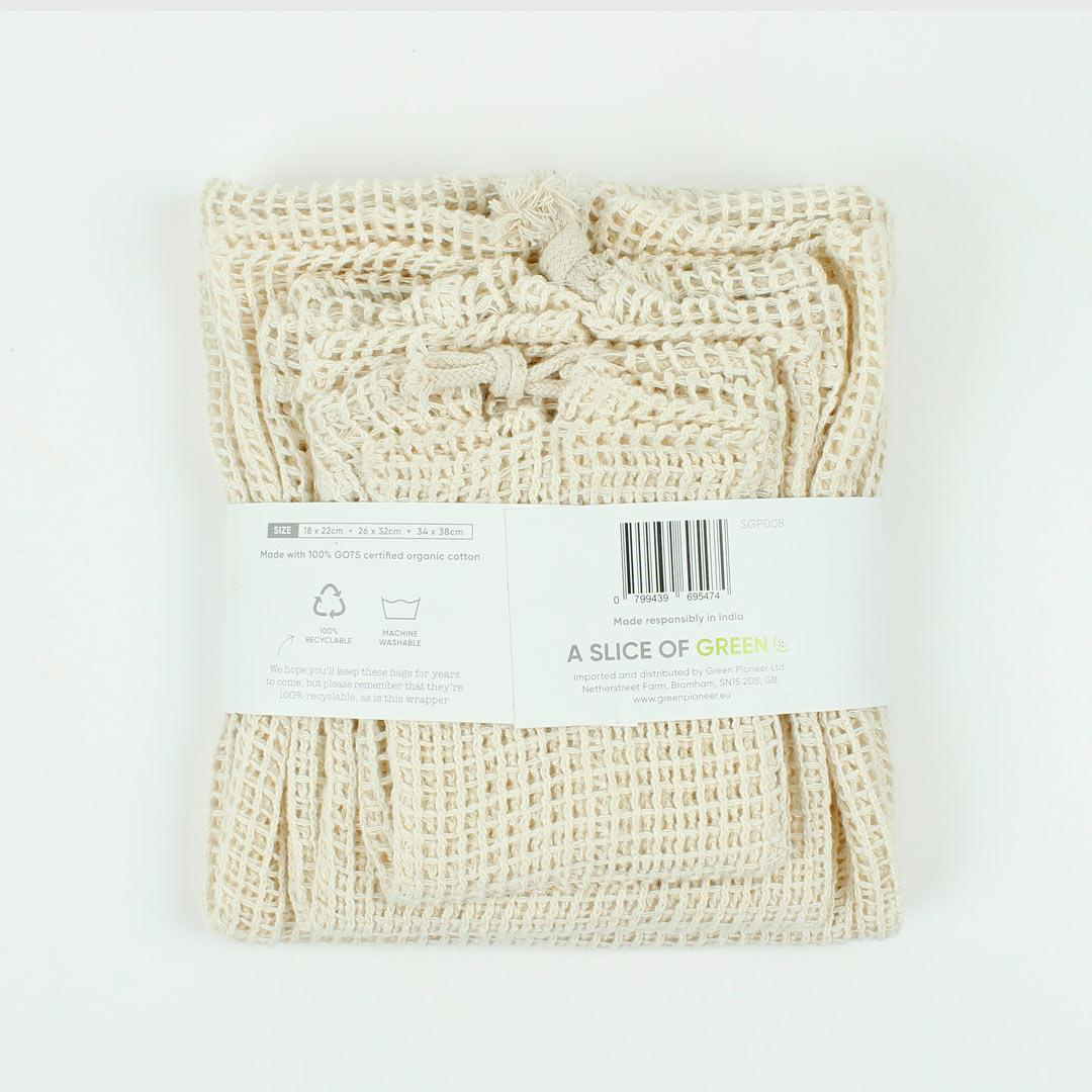 Organic Cotton Mesh Produce Bags - Variety Pack Set of 3