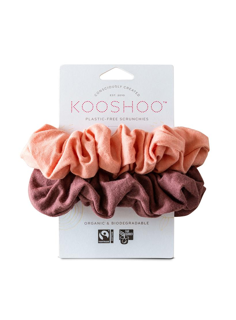 Organic Plastic Free Scrunchies - Pack of 2 - Coral Rose front
