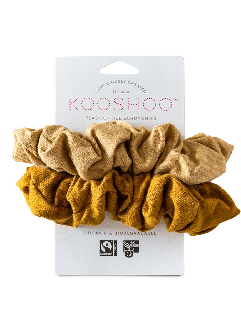 Organic Plastic Free Scrunchies - Pack of 2 - Gold Sand front