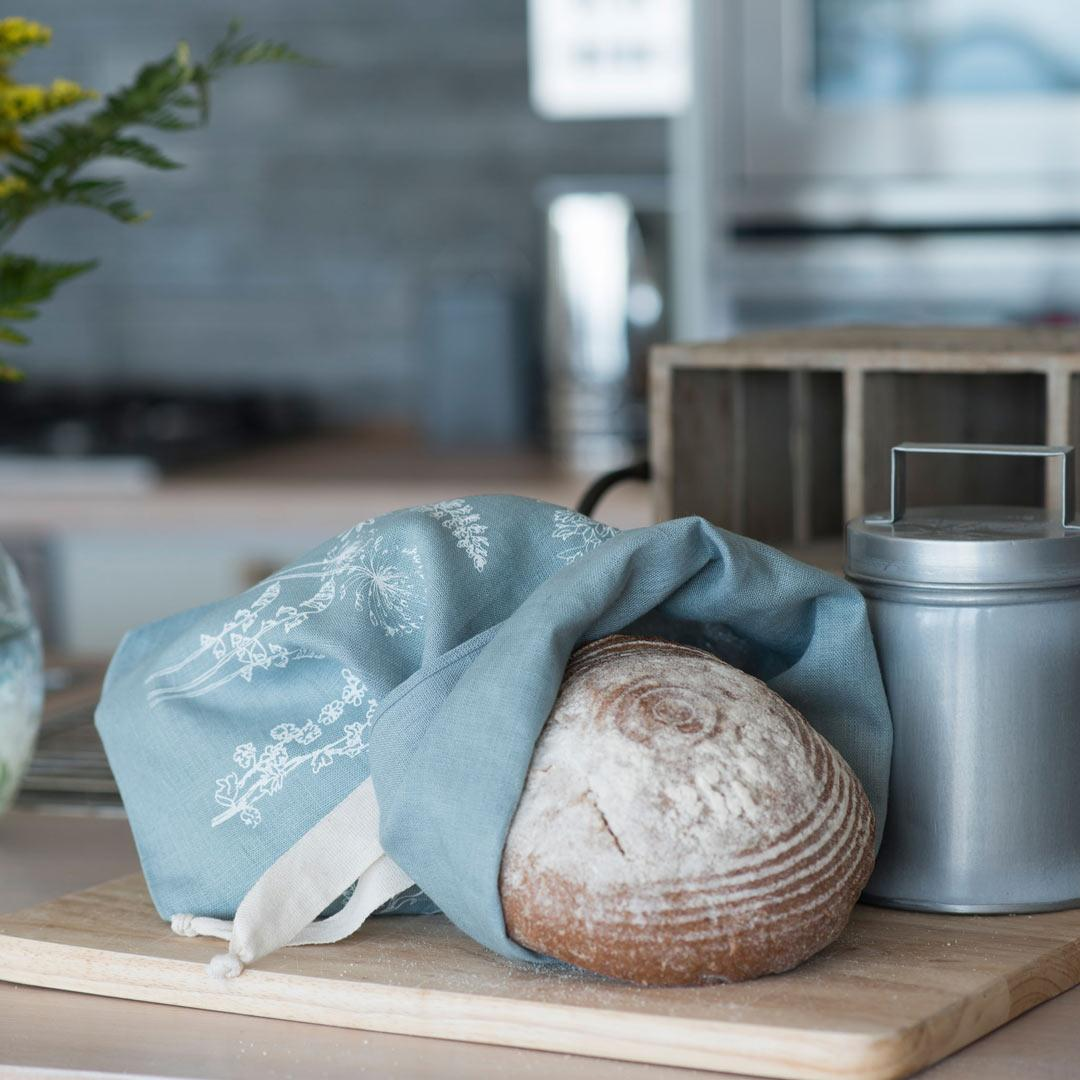 Hand Printed Linen Bread Bag - Garden Collection - with bread
