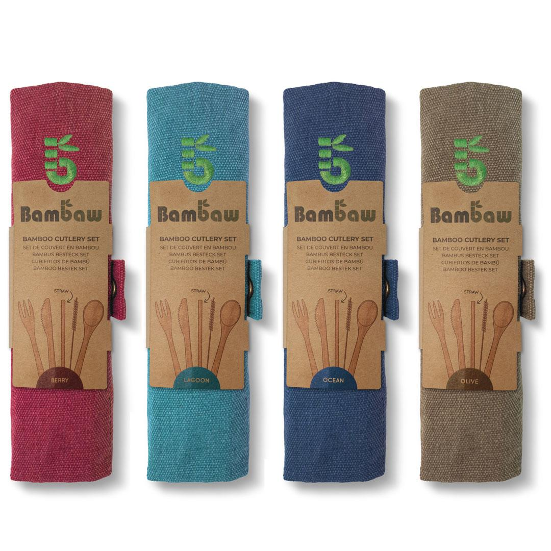 Bamboo Cutlery Set in Cotton pouch showing all 4 colours