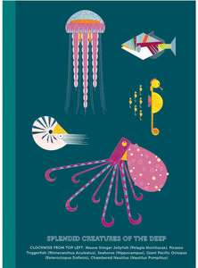 A5 recycled notebook with plain pages - Splendid Sea Creatures
