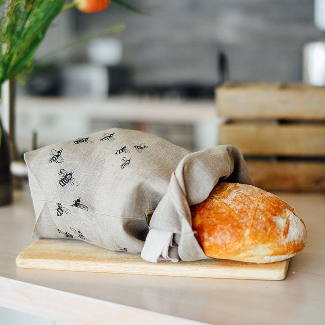 Hand Printed Linen Bread Bag - Honey Bee Collection