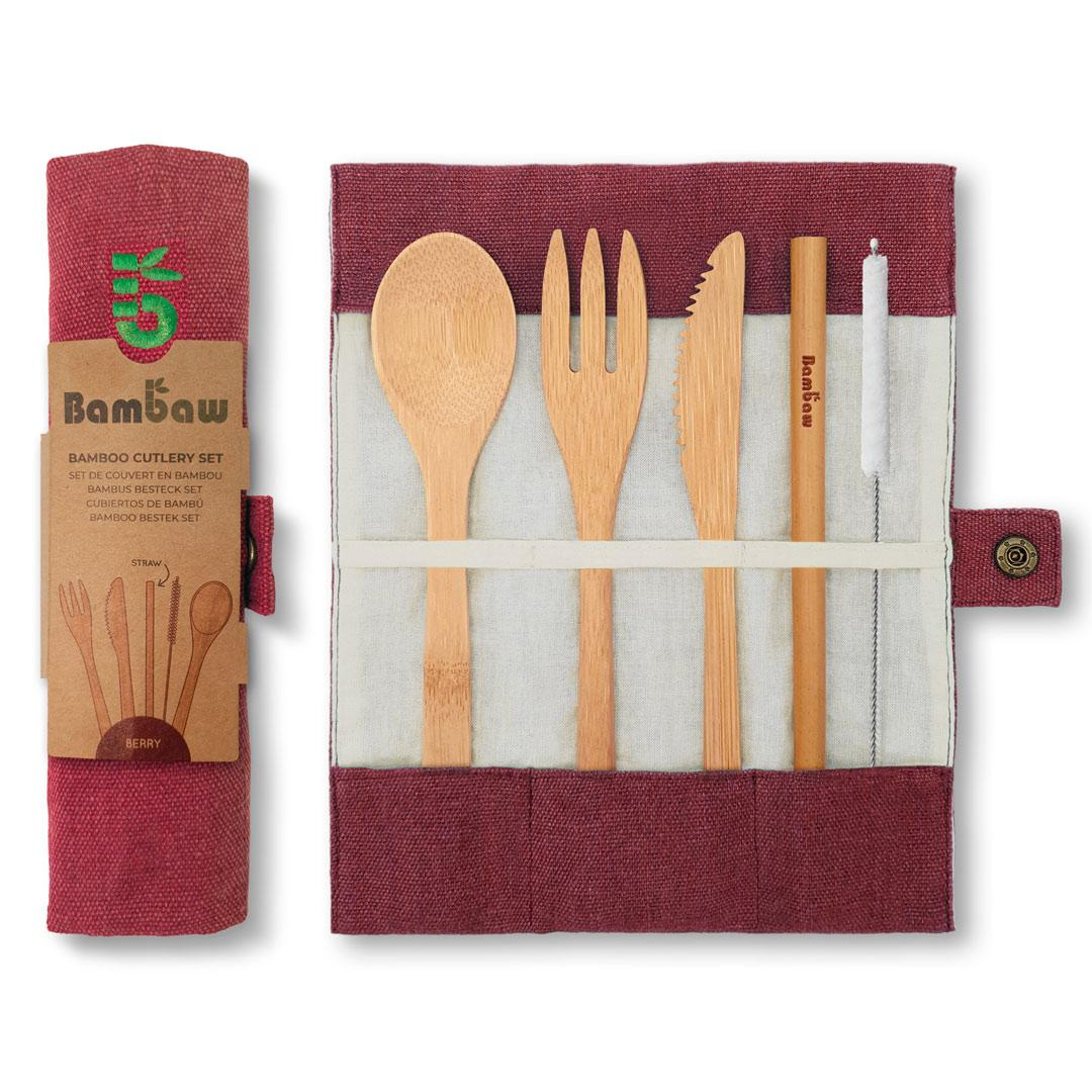 Bamboo Cutlery Set in Cotton pouch in Berry