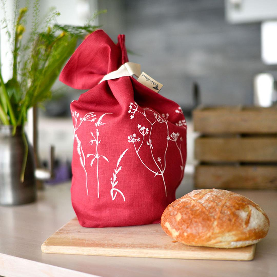 Hand Printed Linen Bread Bag - Hedgerow Collection - raspberry