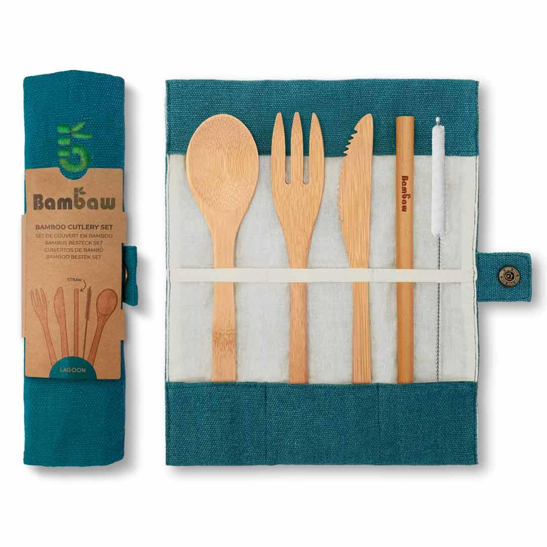 Bamboo Cutlery Set in Cotton pouch in Lagoon