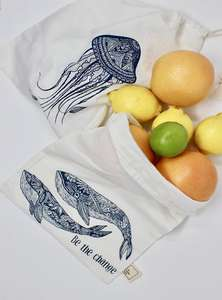 Organic Cotton Produce Bags - Set of 2 - Whales and Jellyfish