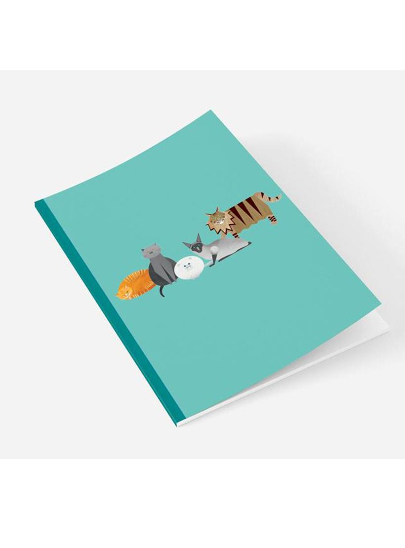 A5 recycled notebook with plain pages - Cat Characters