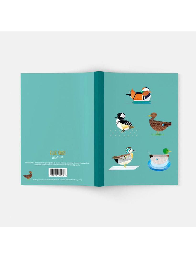 A5 recycled notebook with plain pages - Dabbling Ducks