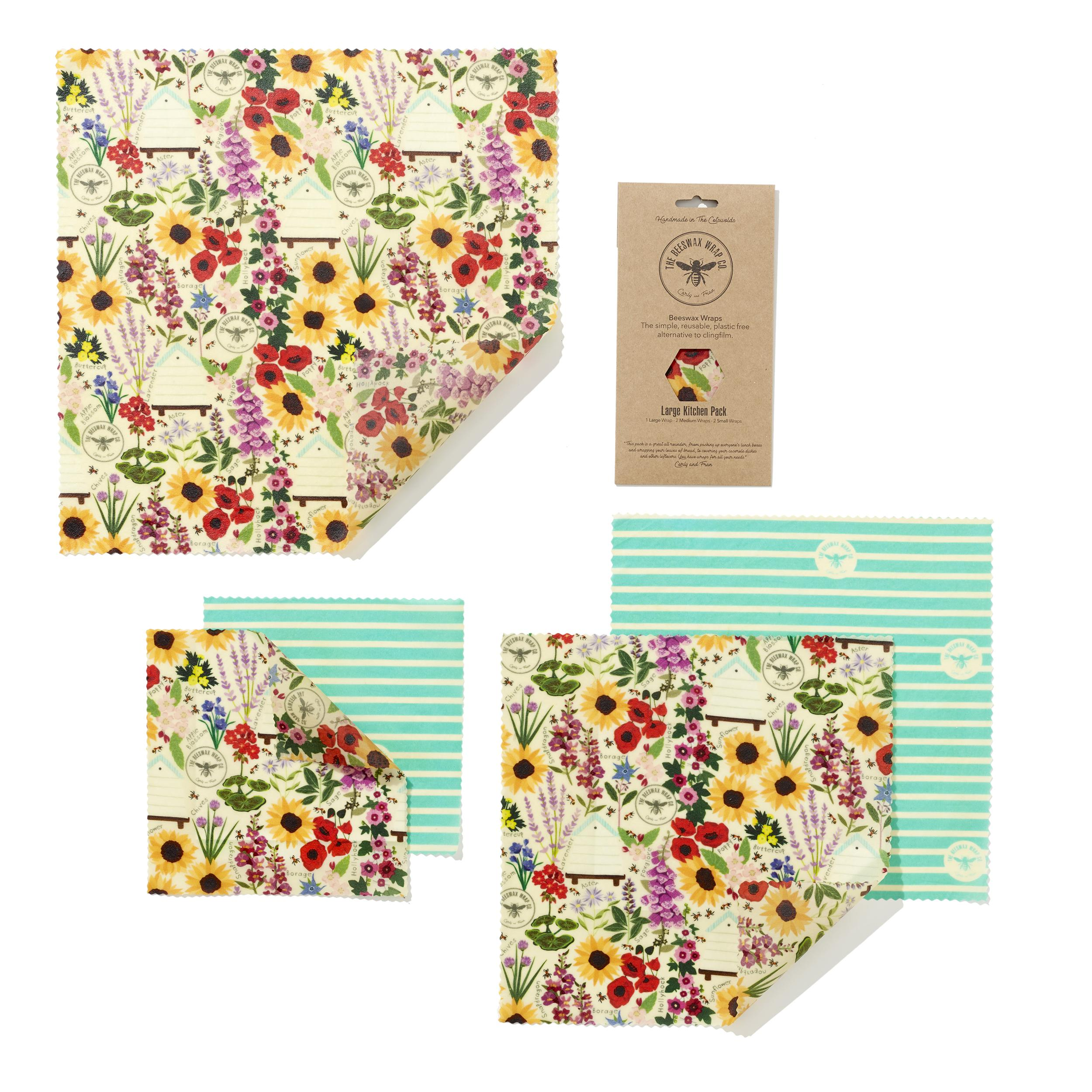 Organic Cotton Beeswax wraps - FLORAL PRINT - Five combo