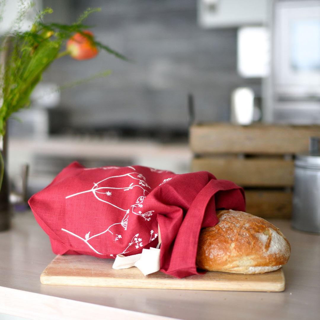 Hand Printed Linen Bread Bag - Hedgerow Collection - raspberry with bread