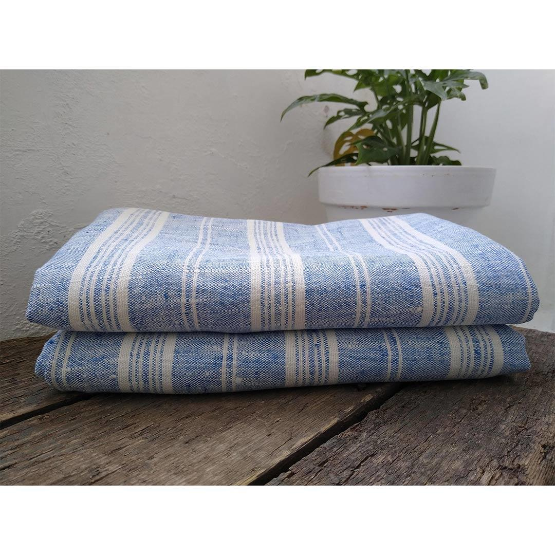 100% Linen Beach/Bath Towel -  Multistripe - Blue/White