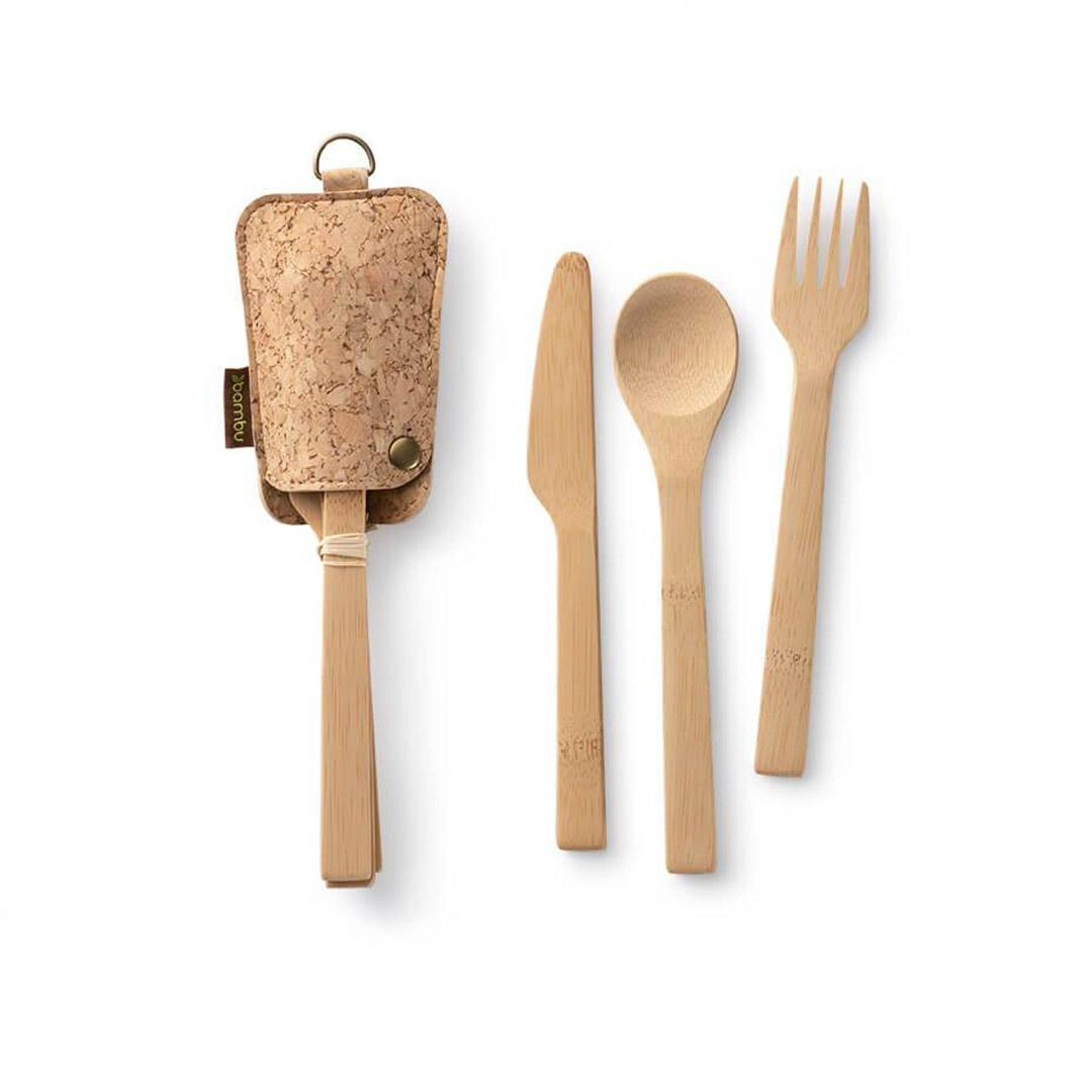 Bamboo and Cork Utensil Travel Set with pouch