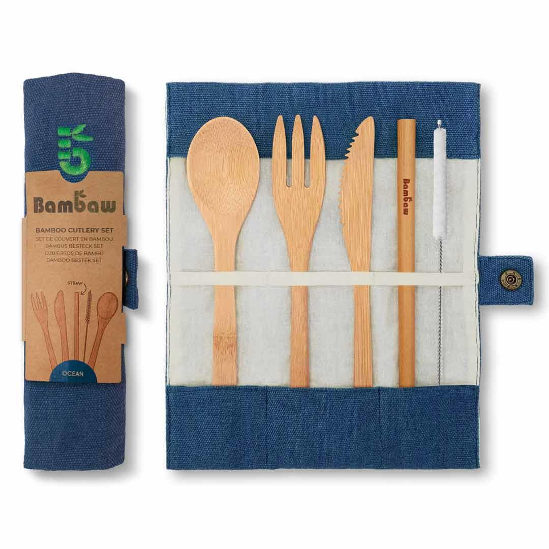 Bamboo Cutlery Set in Cotton pouch in Ocean