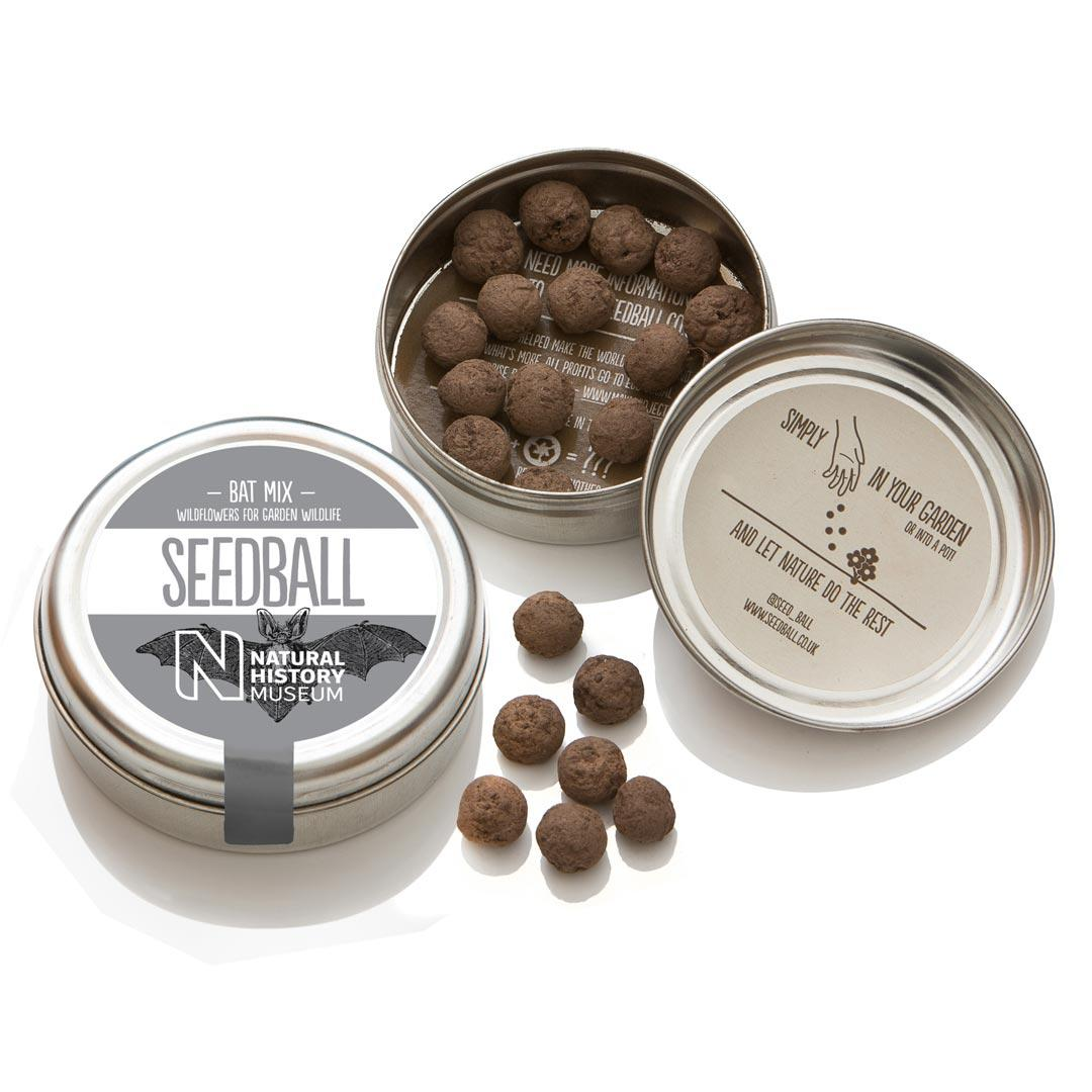 Bat mix tin open showing seedballs