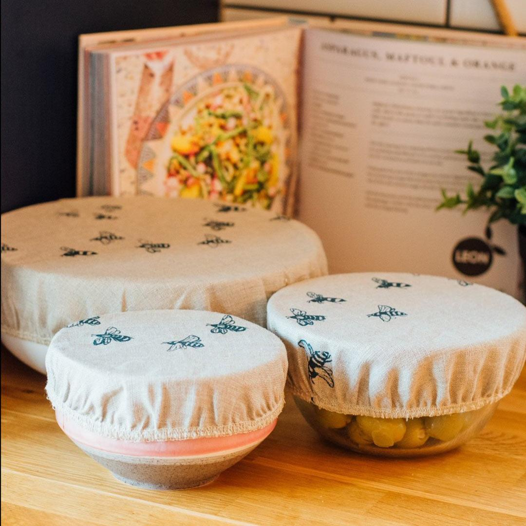 Hand Printed Linen Bowl Covers - Set of 3 - Honey Bee lifestyle