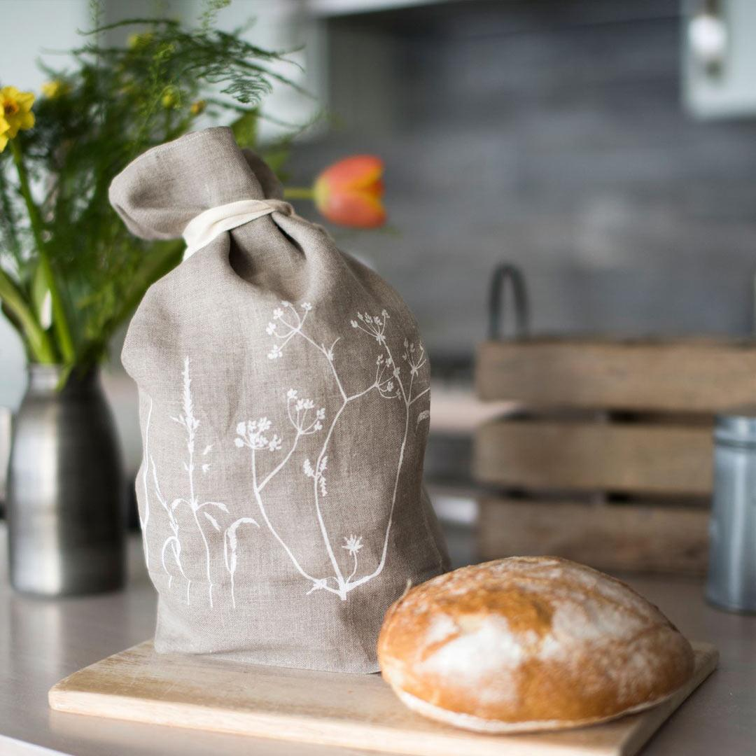 Hand Printed Linen Bread Bag - Hedgerow Collection - natural