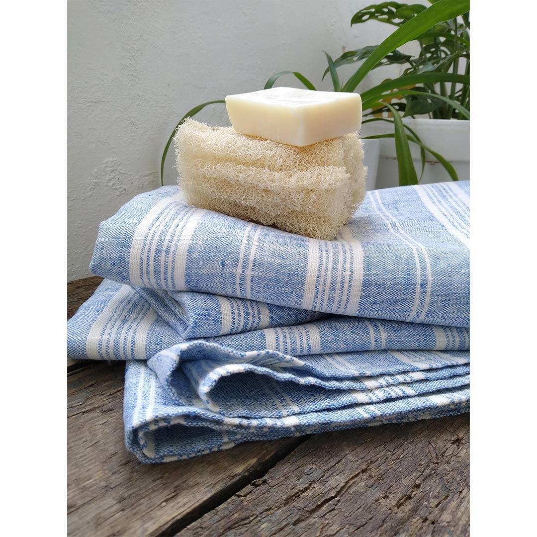 100% Linen Beach/Bath Towel -  Multistripe - Blue/White with body loofah