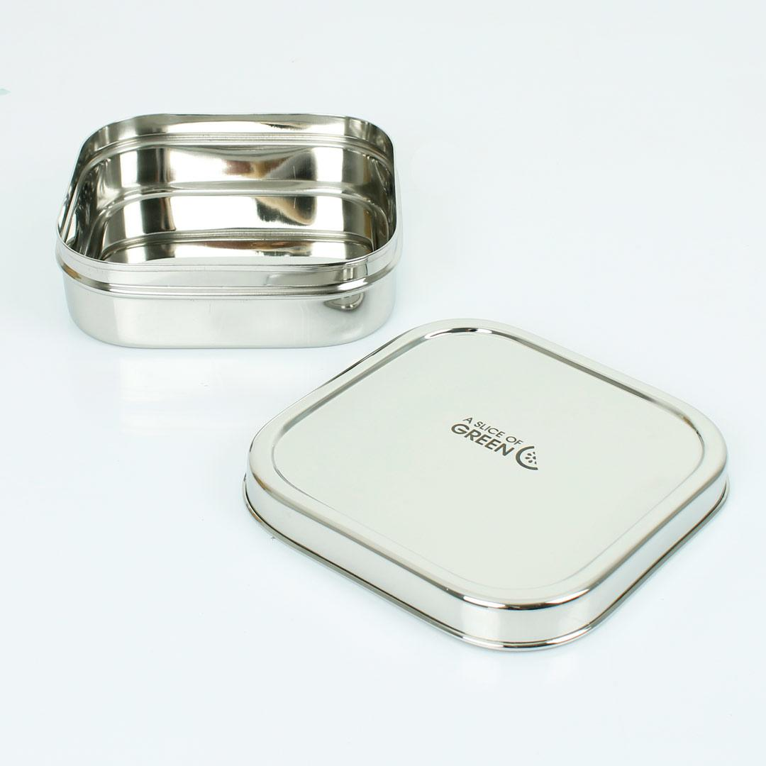 Large Square Stainless Steel Container (Shimla) open showing inside