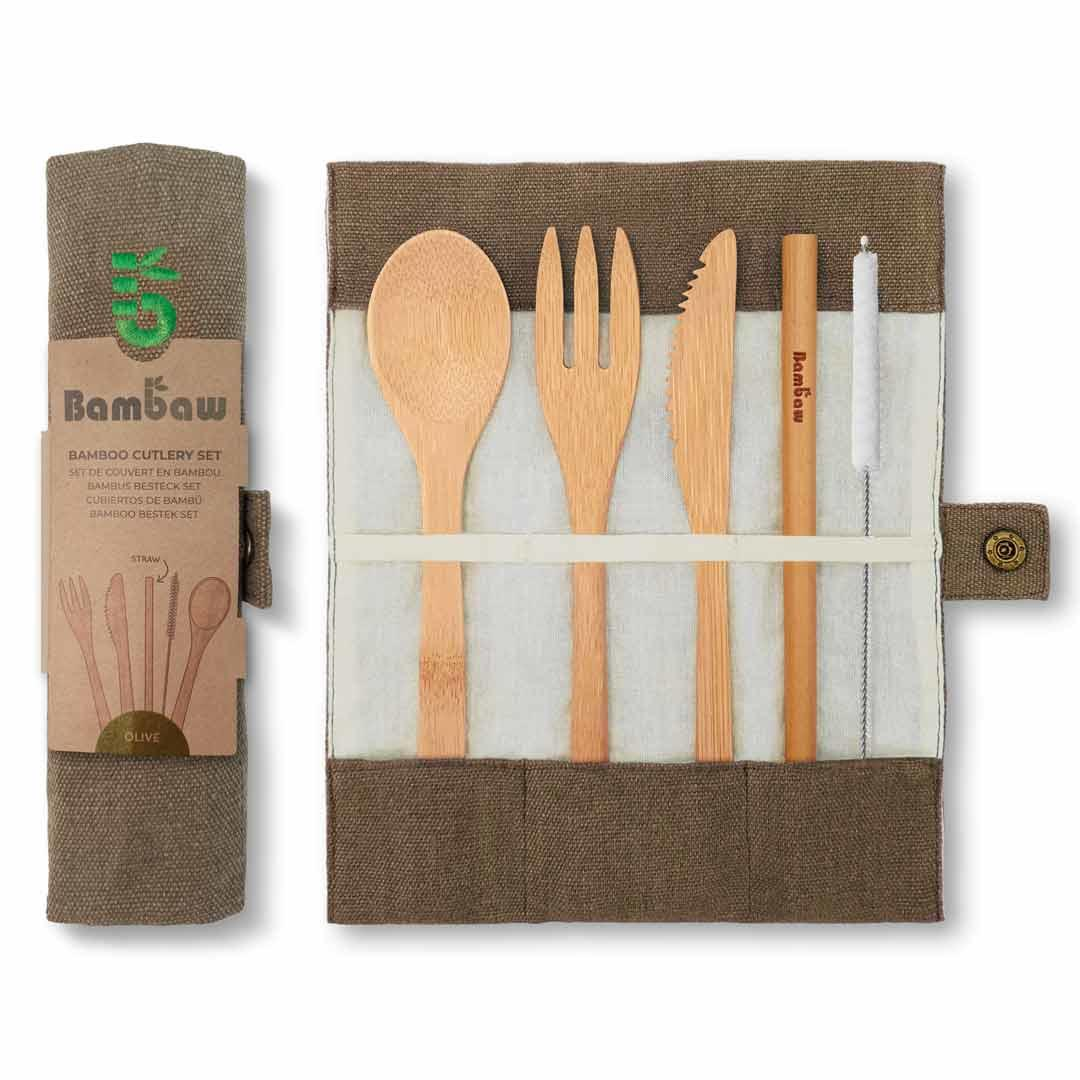 Bamboo Cutlery Set in Cotton pouch in Olive