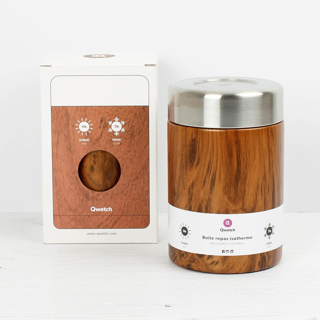 Insulated Stainless Steel Food Jar - Wood - 650ml with box